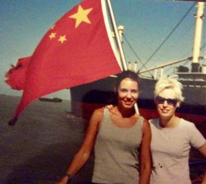 With my sister, Amanda Catching, cruising up the Huangpu, 2001.
